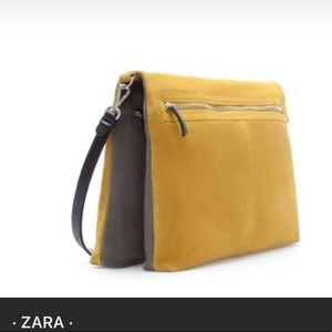 Double sided grey and yellow suede messenger bag